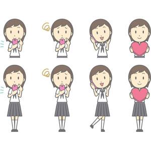 フリーイラスト, ベクター画像, AI, 人物, 少女, 少女(00247), 学生(生徒), 中学生, 学生服, セーラー服(学生服), スマートフォン(スマホ), 携帯電話, 困る, 通話, ハート