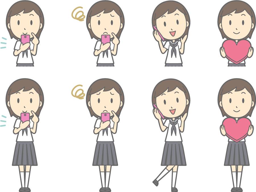 フリーイラスト スマホを持つなどの8種類の夏服の女子中学生のセット