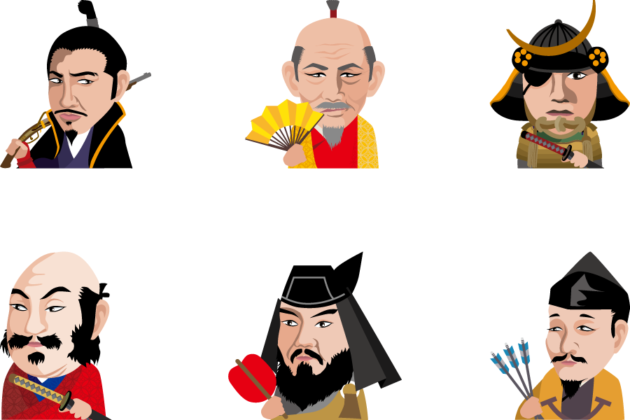 フリーイラスト 織田信長や豊臣秀吉などの6人の戦国武将のセット