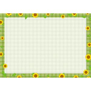フリーイラスト, ベクター画像, AI, 背景, フレーム, 囲みフレーム, 植物, 花, 向日葵(ヒマワリ), 黄色の花, 葉っぱ, チェック柄