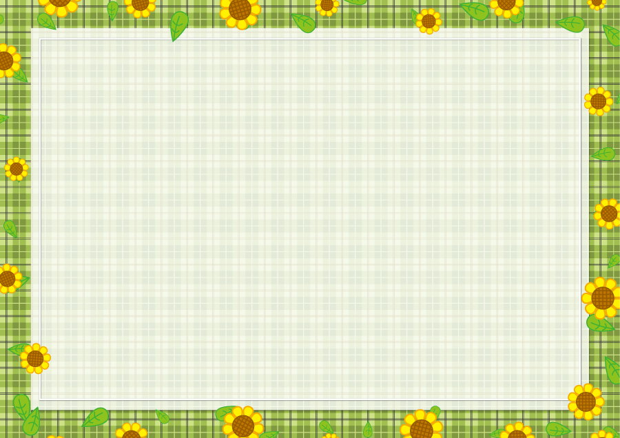 フリーイラスト ひまわりの花とチェック柄の飾り枠