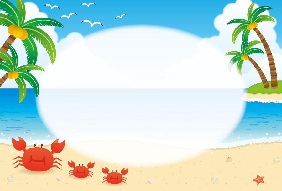 フリーイラスト ヤシの木とカニの親子と夏のビーチの飾り枠