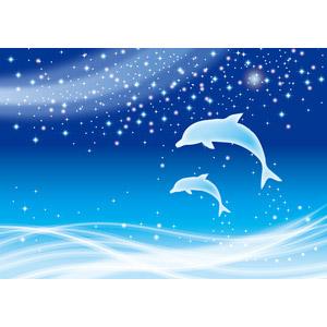 フリーイラスト, ベクター画像, AI, 背景, 動物, 哺乳類, イルカ, ジャンプ(動物), 波, 夜, 星(スター), 天の川