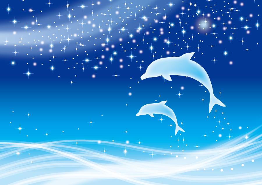 フリーイラスト 天の川とジャンプするイルカの背景