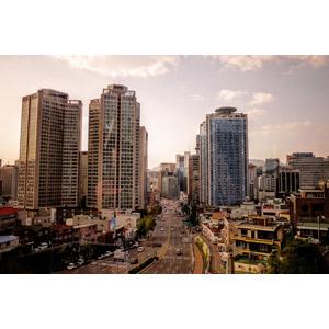 フリー写真, 風景, 建造物, 建築物, 高層ビル, 都市, 街並み(町並み), 道路, 韓国の風景, ソウル特別市