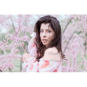 フリー写真, 人物, 女性, 外国人女性, ルーマニア人, 人と花, ピンク色の花