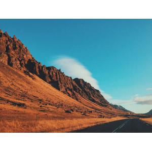 フリー写真, 風景, 山, 青空, 道路, アイスランドの風景
