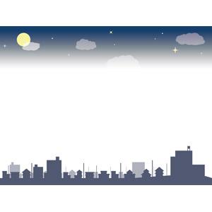 フリーイラスト, ベクター画像, EPS, 背景, フレーム, 上下フレーム, 夜空, 満月, 星(スター), 雲, 夜, 街並み(町並み), 街並み(シルエット), 都市