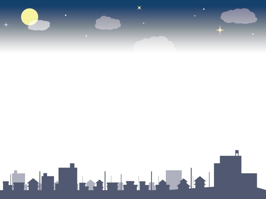 フリーイラスト 月夜と街の飾り枠