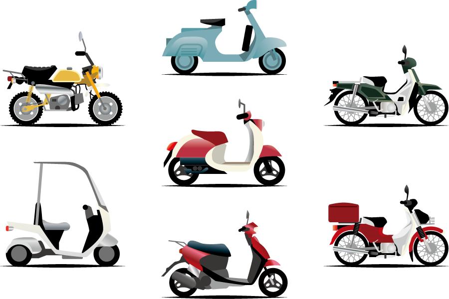 フリーイラスト スクターやカブなどの7種類のバイクのセット