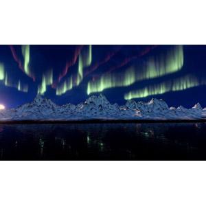 フリー写真, フォトレタッチ, 風景, 山, 雪, 夜, 夜空, オーロラ