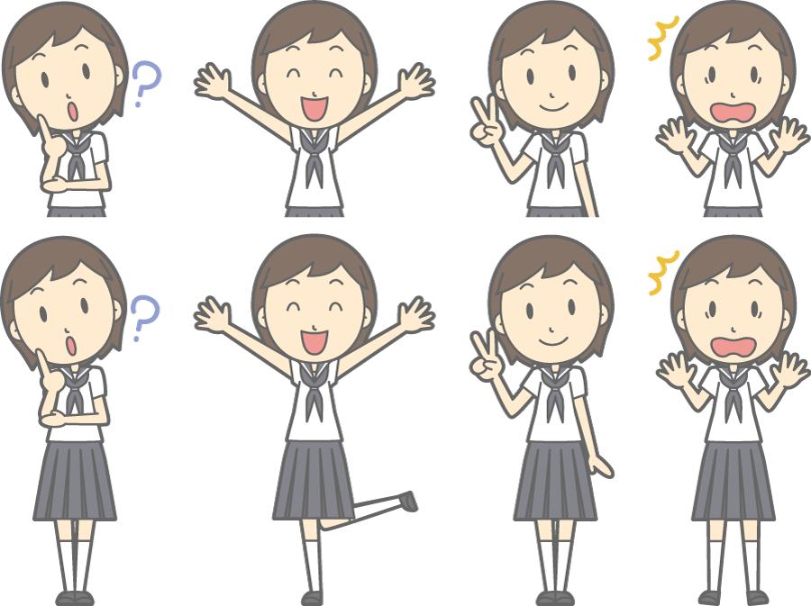 フリーイラスト バンザイするなどの8種類の夏服の女子中学生のセット