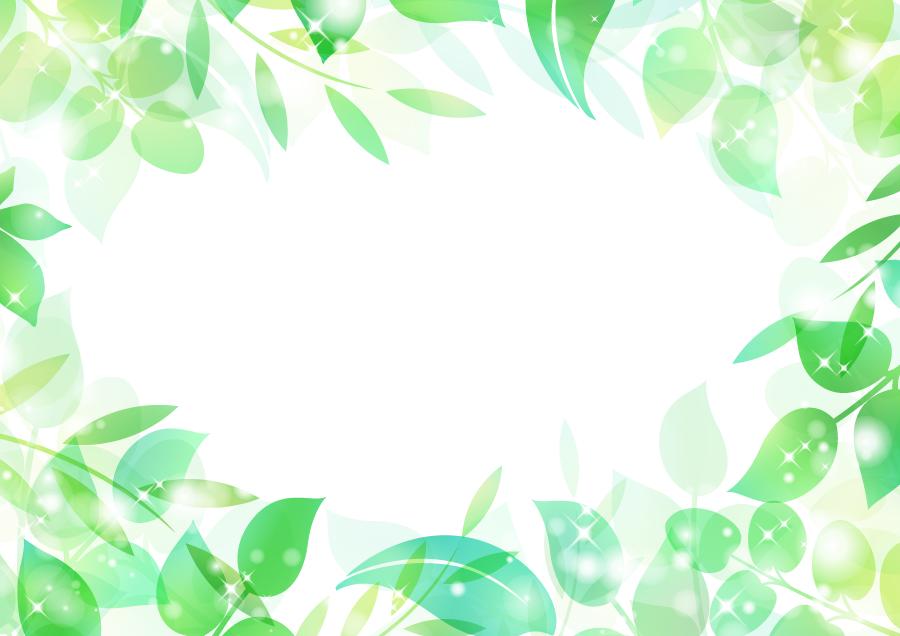 フリーイラスト キラキラ光る新緑の葉っぱのフレーム