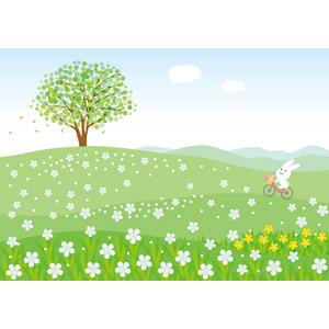 フリーイラスト, ベクター画像, AI, 風景, 丘, 草原, 花, 樹木, 自転車, 兎(ウサギ)
