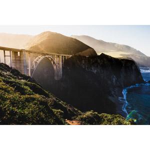 フリー写真, 風景, 建造物, 橋, アメリカの風景, カリフォルニア州, ビッグサー, ビックスビー橋, 海岸, 崖