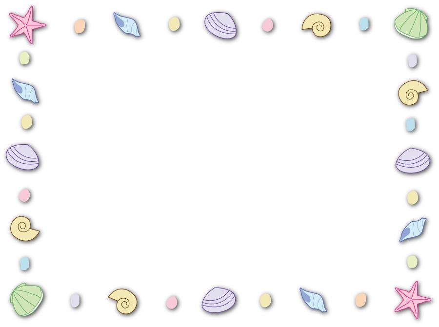 フリーイラスト 貝殻とヒトデの飾り枠