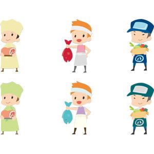 フリーイラスト, ベクター画像, AI, 人物, 男性, 仕事, 職業, 肉屋, 魚屋(鮮魚店), 八百屋, 店員, 食肉, 魚介類, 野菜