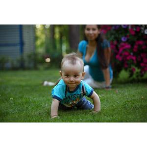 フリー写真, 人物, 親子, 母親(お母さん), 子供, 赤ちゃん, ハイハイ, 芝生