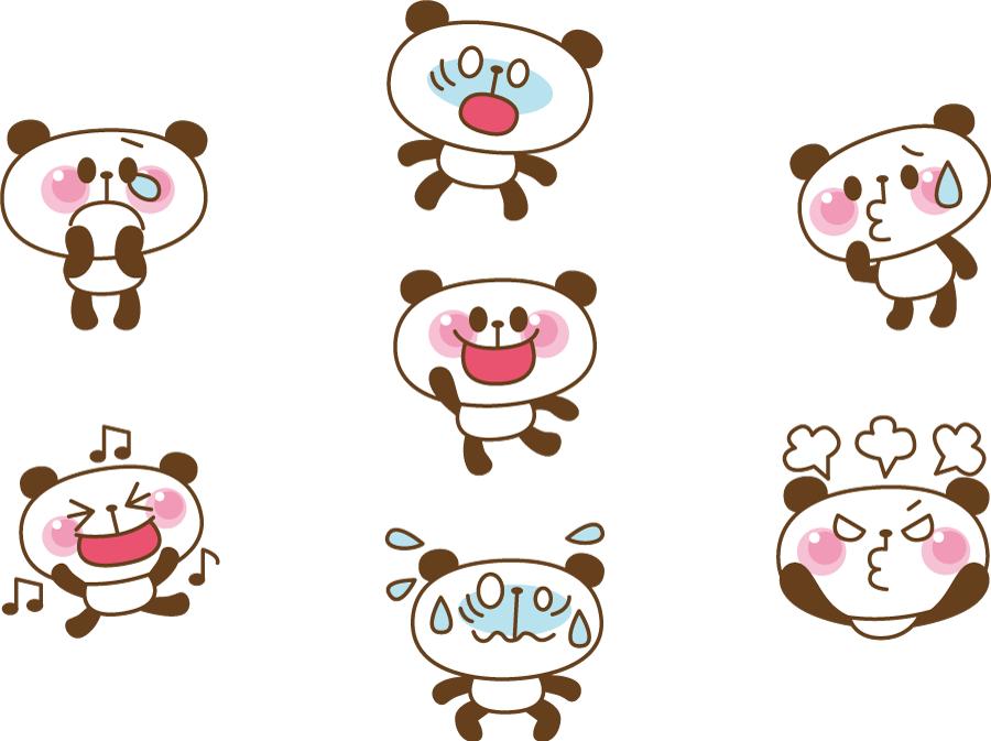 フリーイラスト 泣くなどの7種類のジャイアントパンダのセット
