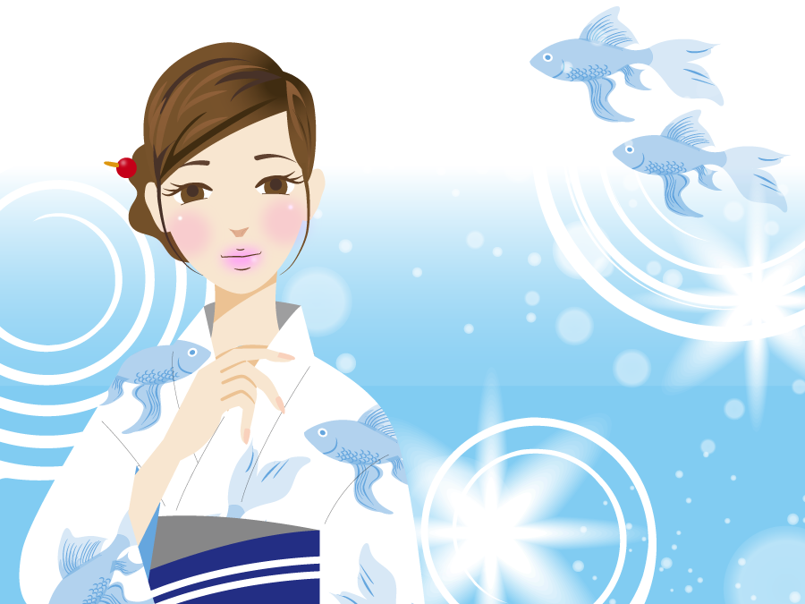 フリーイラスト 金魚と浴衣姿の女性