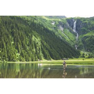 フリー写真, 風景, 山, 滝, 湖, 人と風景, 釣り人, 魚釣り(フィッシング), オーストリアの風景