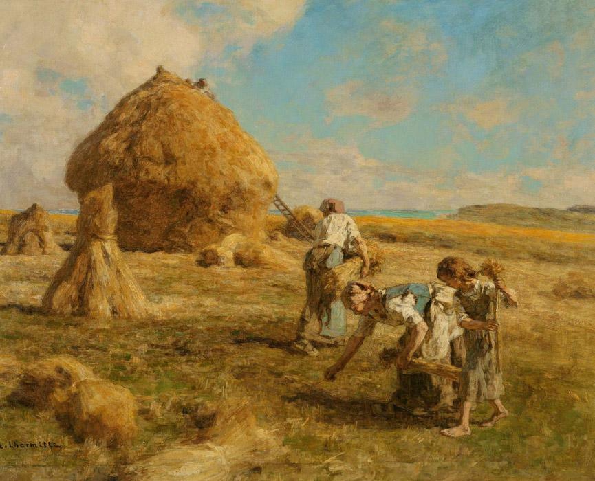 フリー絵画 レオン・オーギュスタン・レルミット作「落穂拾い」