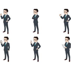 フリーイラスト, 人物, 男性, ビジネス, ビジネスマン, サラリーマン, 眼鏡(メガネ), 仕事, 職業, メンズスーツ, ガッツポーズ, 腕を組む, サムズアップ, いいね(グッド), スマートフォン(スマホ), 指差す, アドバイス, タブレットPC