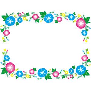 フリーイラスト, ベクター画像, EPS, 背景, フレーム, 囲みフレーム, 植物, 花, 朝顔(アサガオ), 夏