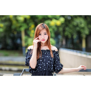 フリー写真, 人物, 女性, アジア人女性, 女性(00256), 中国人, 頬に指を当てる