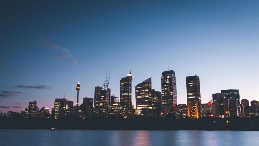 フリー写真 日暮れのシドニーの都市風景