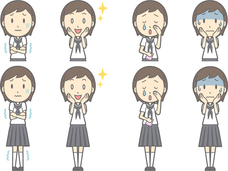 フリーイラスト 寒いなどの8種類の夏服の女子中学生のセット