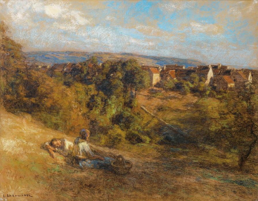 フリー絵画 レオン・オーギュスタン・レルミット作「農家の休息」