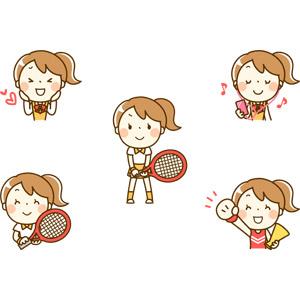 フリーイラスト, 人物, 少女, 少女(00222), 学生(生徒), 学生服, 高校生, 中学生, 恋する, 音楽鑑賞, イヤホン(イヤフォン), テニス, テニスラケット, 応援する, メガホン(拡声器), チアリーダー(チアガール), スポーツ, 球技, 音楽