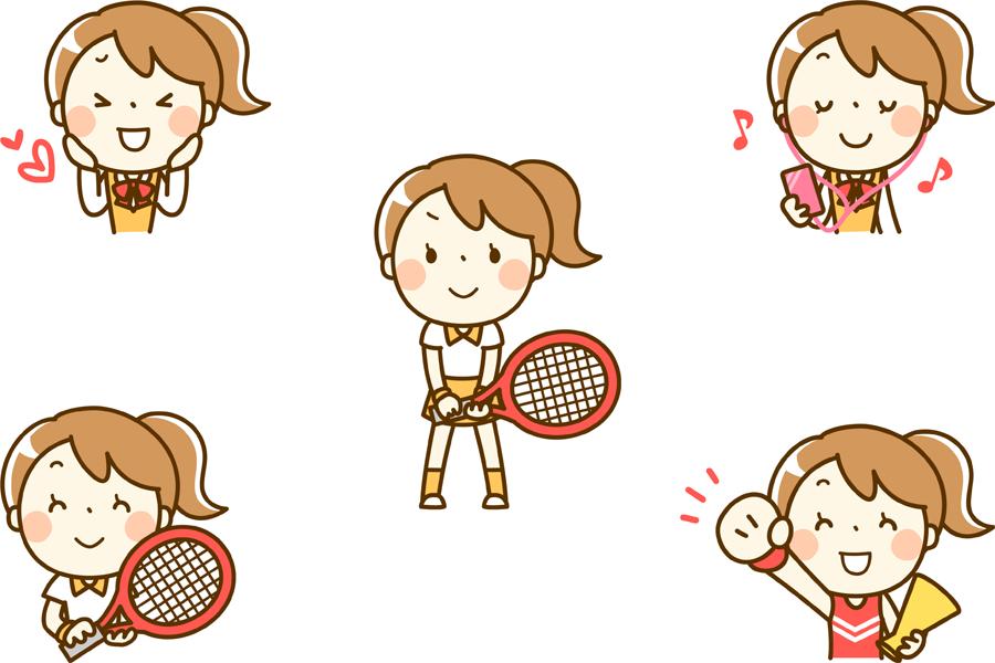 フリーイラスト テニスをするなどの5種類の女子学生のセット
