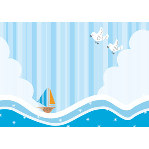 フリーイラスト, ベクター画像, AI, 背景, 海, 波, 乗り物, 船, ヨット, 小鳥, 縞模様(ストライプ), 夏