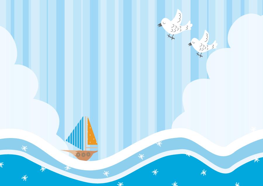 フリーイラスト 海に浮かぶヨットと小鳥の背景