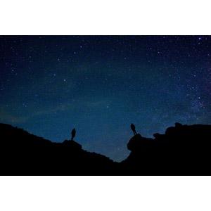フリー写真, 風景, 夜, 夜空, 星(スター), 人と風景, シルエット(人物)