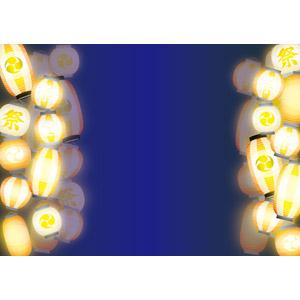フリーイラスト, ベクター画像, AI, 背景, フレーム, 左右フレーム, 年中行事, お祭り, 提灯, 夜