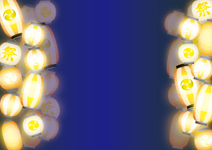 フリーイラスト 灯りの点いた祭りの提灯の飾り枠
