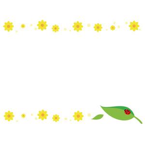 フリーイラスト, ベクター画像, AI, 背景, フレーム, 上下フレーム, 植物, 花, 黄色の花, 葉っぱ, てんとう虫(テントウムシ)