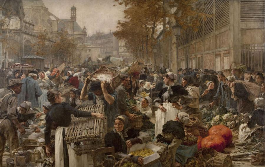 フリー絵画 レオン・オーギュスタン・レルミット作「レ・アールの市場」