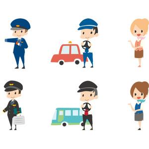 フリーイラスト, ベクター画像, AI, 人物, 男性, 仕事, 職業, 駅員, 操縦士(パイロット), キャビンアテンダント, スチュワーデス, 案内する, タクシー運転手, バス運転手, タクシー, バス, 指差す, アタッシュケース, ハンドル