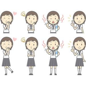 フリーイラスト, ベクター画像, AI, 人物, 少女, 少女(00247), 学生(生徒), 中学生, 学生服, セーラー服(学生服), 恋する, 困る, 暑い, 水分補給, 夏バテ, 指差す, アドバイス, 上を指す, 頬に手を当てる