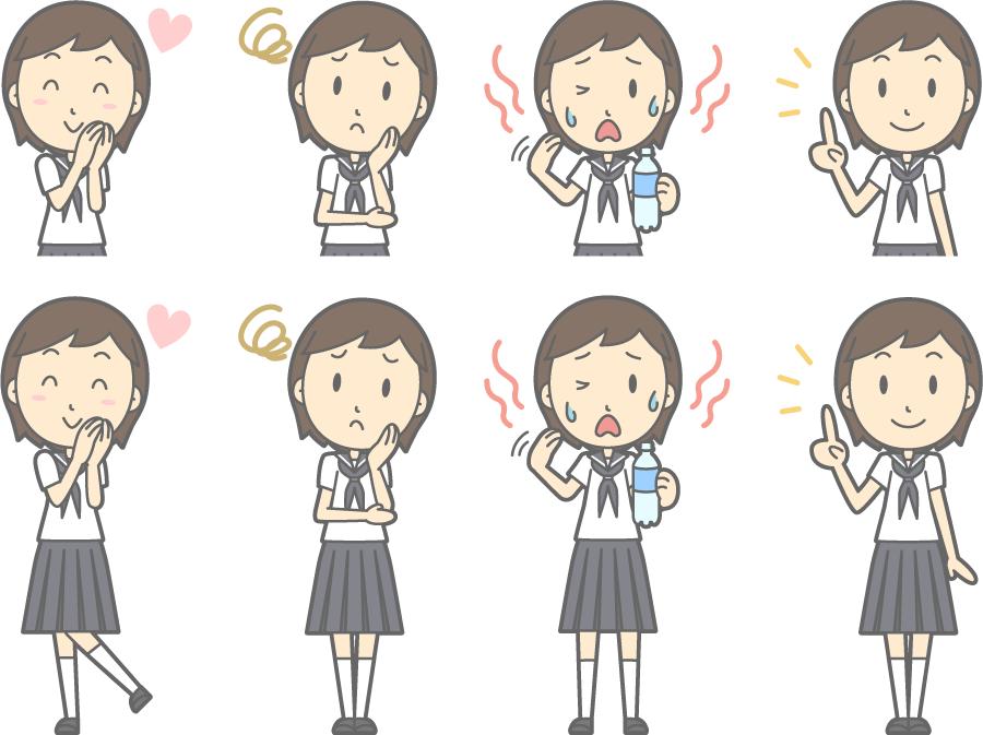フリーイラスト 暑いなどの8種類の夏服の女子中学生のセット