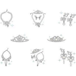 フリーイラスト, ベクター画像, AI, 結婚式(ブライダル), 装飾品(アクセサリー), ティアラ, ネックレス, イヤリング, レディースファッション