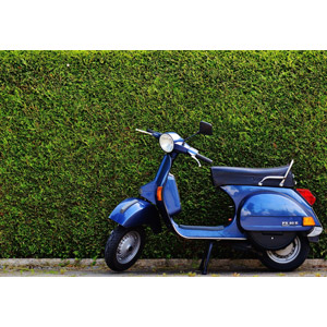 フリー写真, 乗り物, バイク(オートバイ), スクーター, ベスパ, 垣根