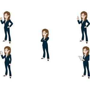 フリーイラスト, 人物, 女性, ビジネス, ビジネスウーマン, OL(オフィスレディ), レディーススーツ, 仕事, 職業, ガッツポーズ, 腕を組む, スマートフォン(スマホ), 指差す, アドバイス, タブレットPC