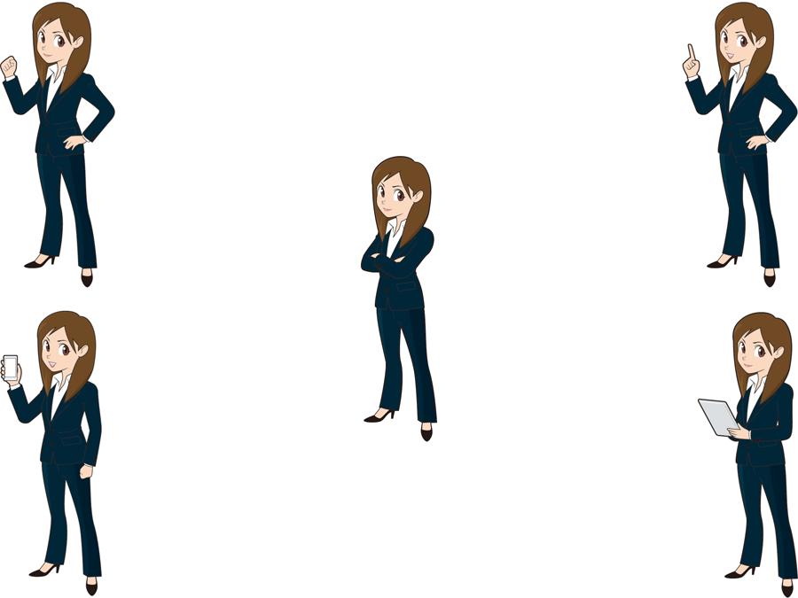 フリーイラスト 5種類の全身姿のビジネスウーマンのセット