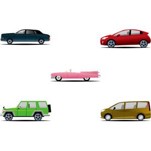 フリーイラスト, ベクター画像, AI, 乗り物, 自動車, オープンカー, SUV, セダン, ハッチバック, ハイブリットカー, トヨタ・プリウス