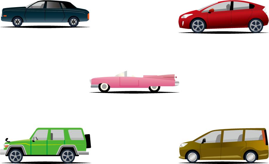フリーイラスト オープンカーやSUVなどの5種類の自動車のセット
